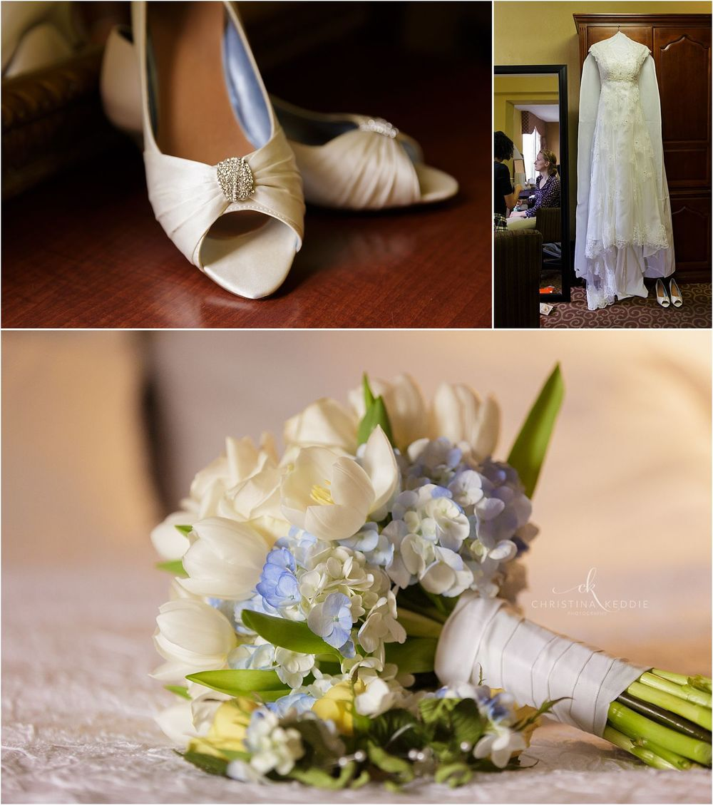 Bridal shoes, gown, and bouquet while getting ready | Christina Keddie Photography | Cherry Hill NJ wedding photographer