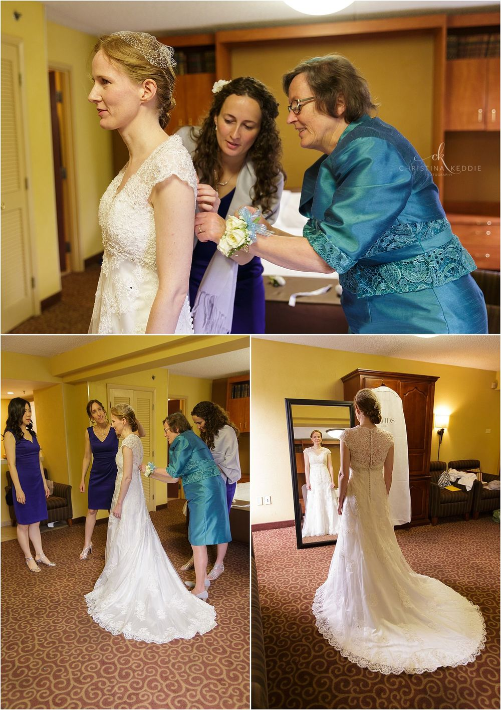 Bride's mother and sisters buttoning gown | Christina Keddie Photography | Cherry Hill NJ wedding photographer