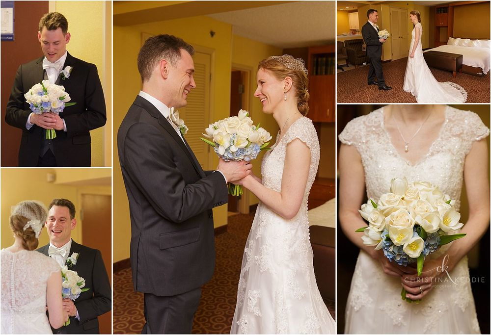 First look and bride with bouquet | Christina Keddie Photography | Cherry Hill NJ wedding photographer