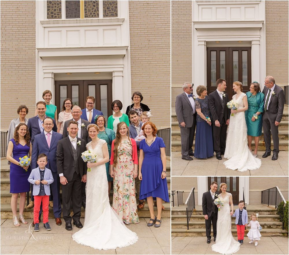 Family and group portraits in front of Trinity Presbyterian Church | Christina Keddie Photography | Cherry Hill NJ wedding photographer