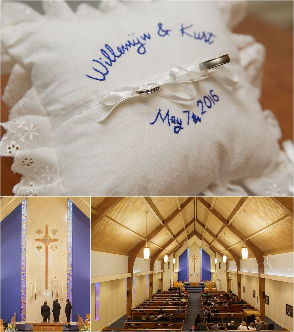 Wedding ring pillow and candles in sanctuary | Christina Keddie Photography | Cherry Hill NJ wedding photographer