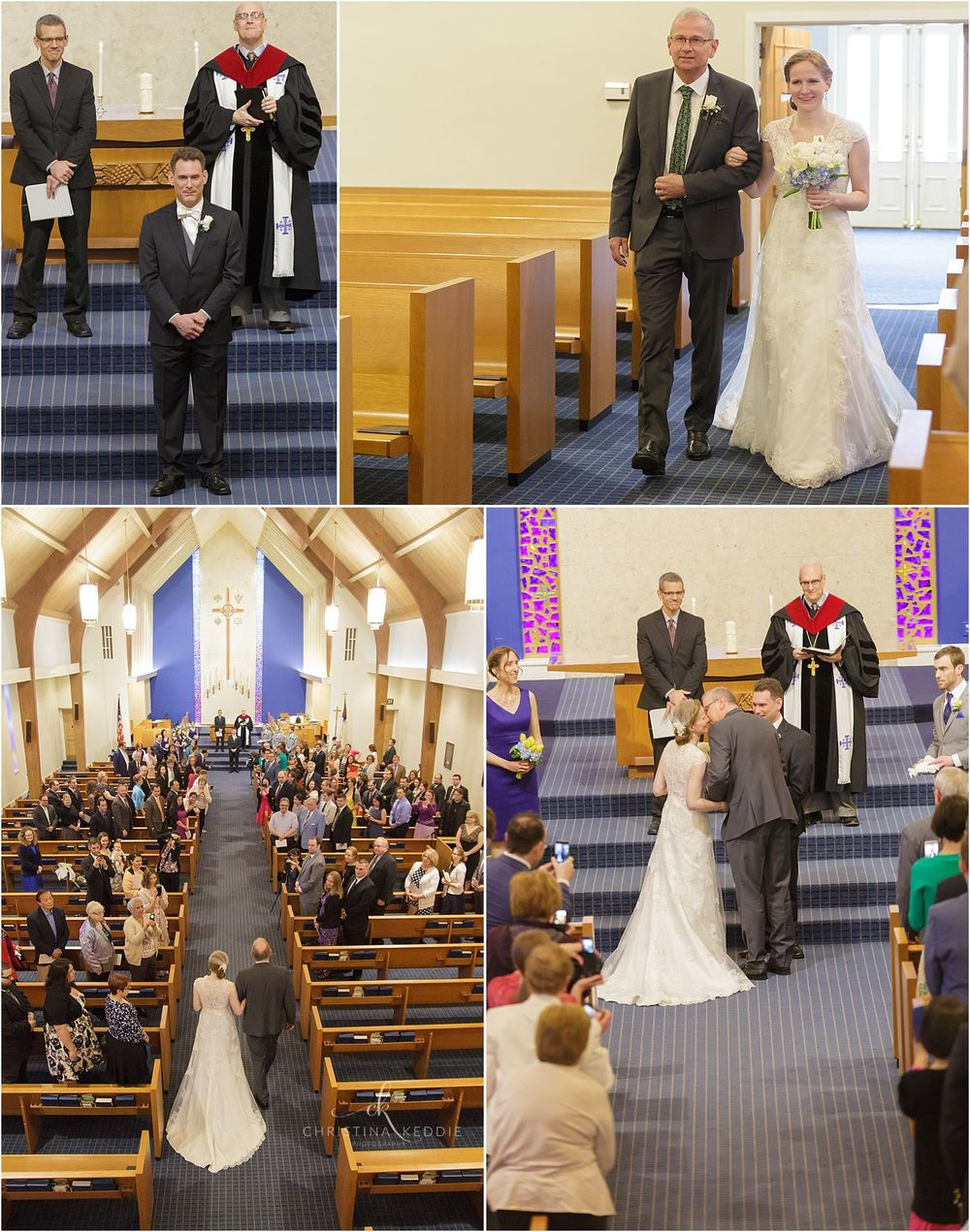 Bride processing into sanctuary with father | Christina Keddie Photography | Cherry Hill NJ wedding photographer