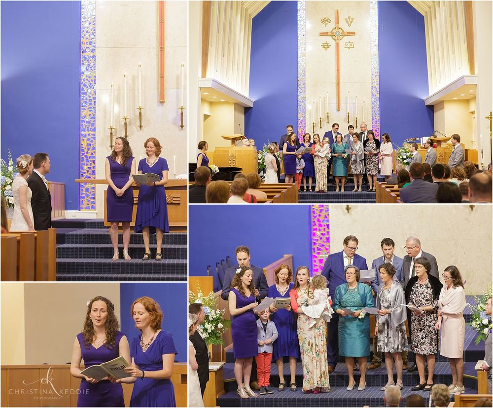 Bride's sisters and family singing during ceremony | Christina Keddie Photography | Cherry Hill NJ wedding photographer
