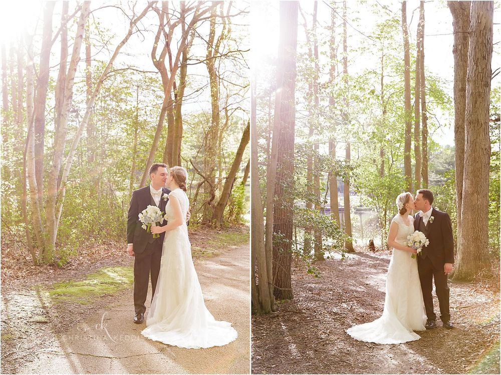 Bride and groom portraits in lakeside forest | Christina Keddie Photography | Voorhees NJ wedding photographer