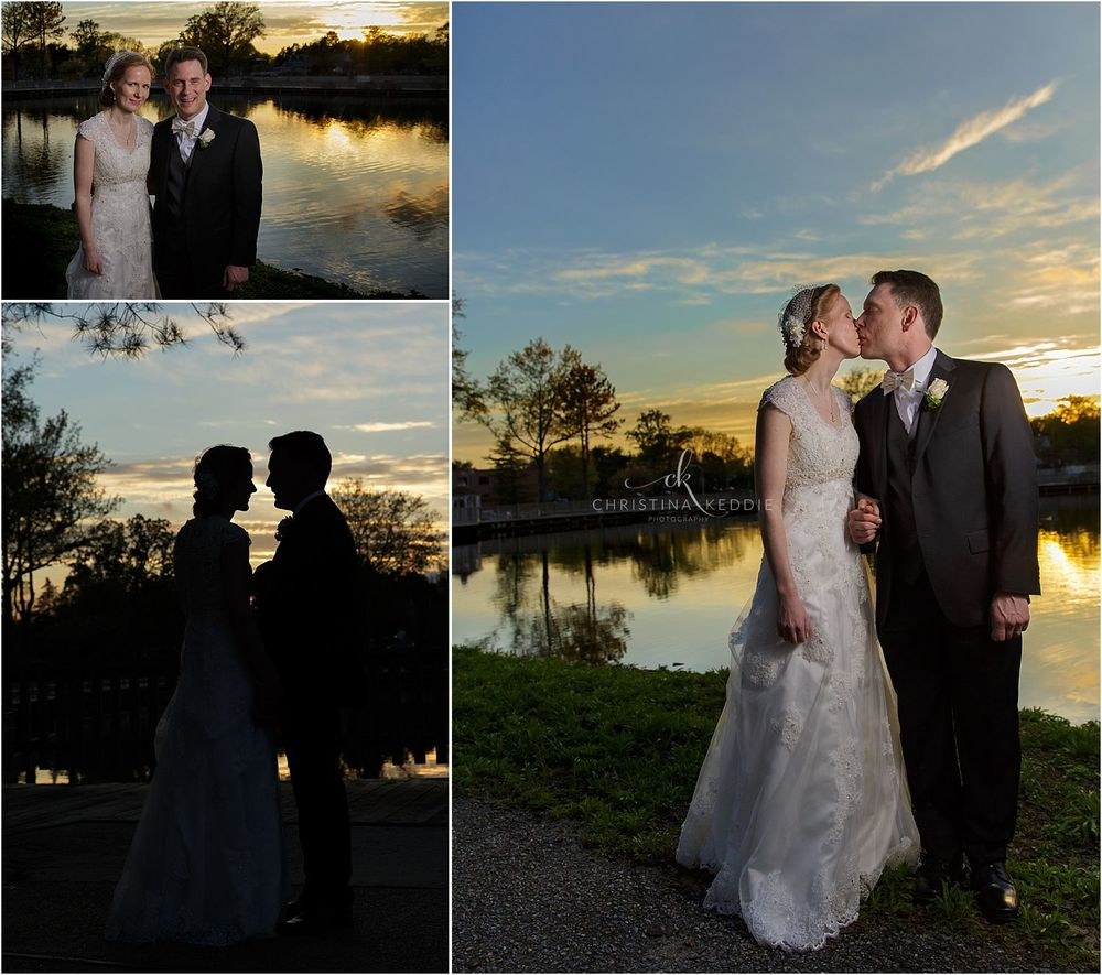 Sunset portraits of bride and groom beside lake | Christina Keddie Photography | Voorhees NJ wedding photographer
