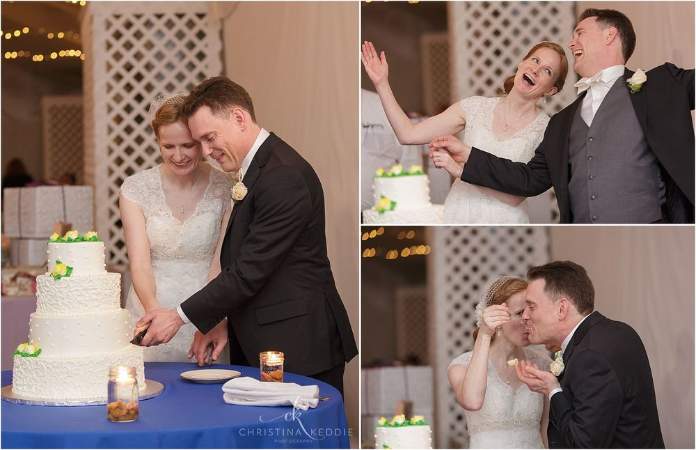 Cake cutting and laughter | Christina Keddie Photography | Voorhees NJ wedding photographer