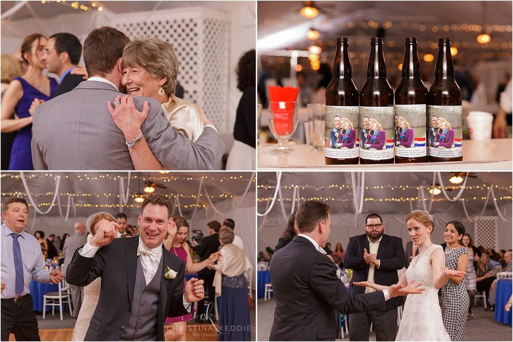 Reception dancing and custom-brewed beer favors | Christina Keddie Photography | Voorhees NJ wedding photographer