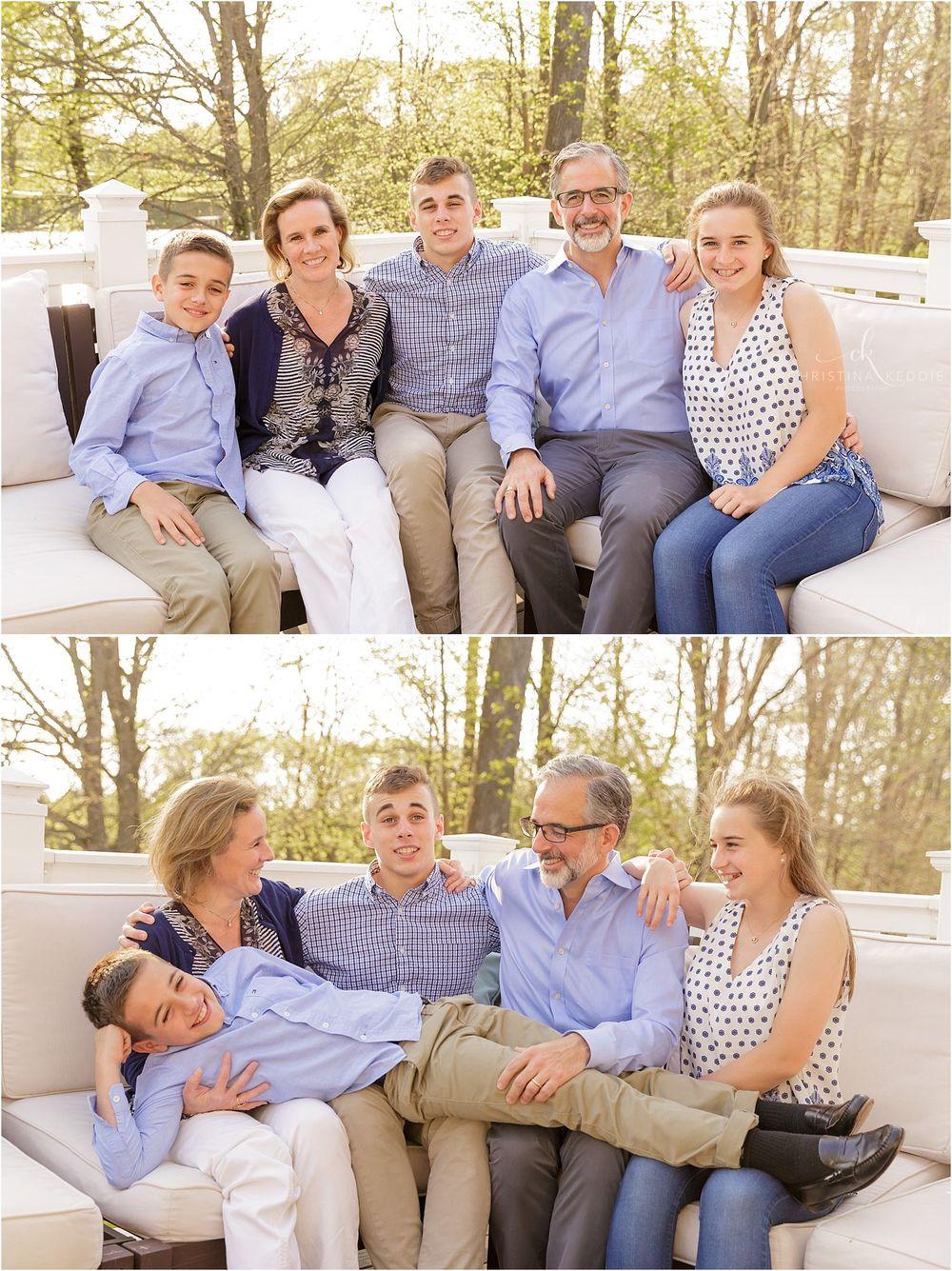 Family portraits on patio overlooking lake   Christina Keddie Photography   Skillman NJ family photographer