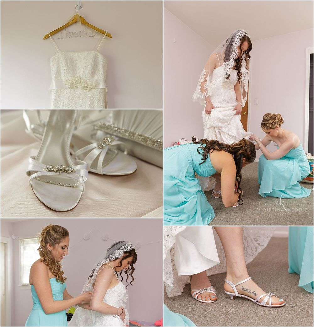 Wedding dress and accessories, and bridesmaids helping bride get ready | Christina Keddie Photography | Ewing NJ wedding photographer