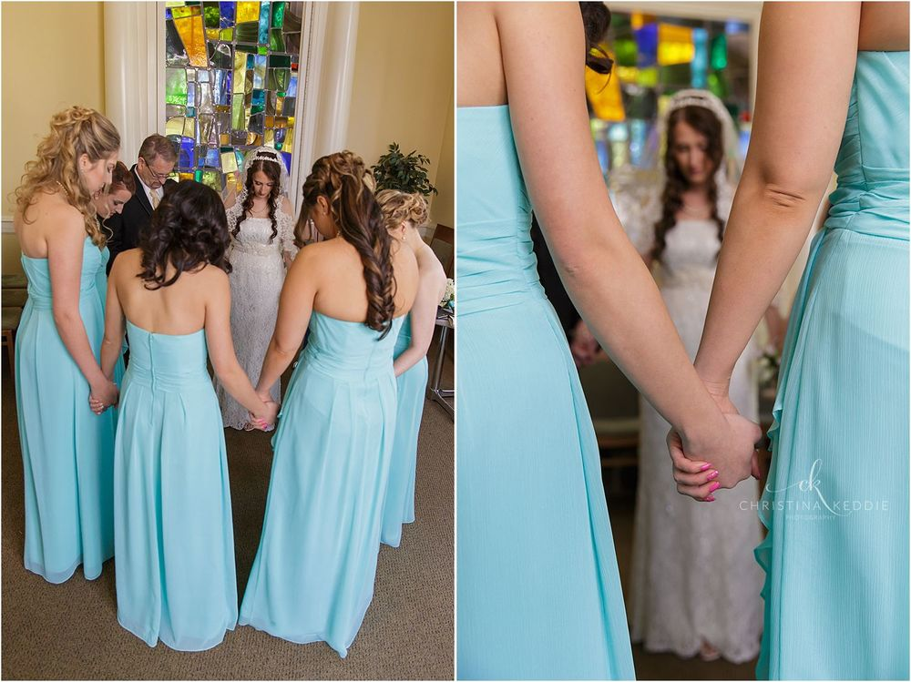 Bride and bridesmaids praying before ceremony | Christina Keddie Photography | Ewing NJ wedding photographer