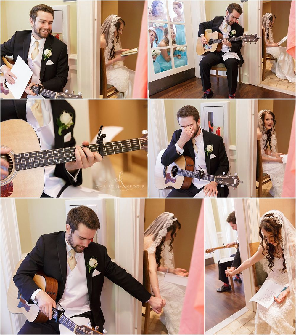 Bride and groom sharing gifts around doorway before ceremony | Christina Keddie Photography | Ewing NJ wedding photographer