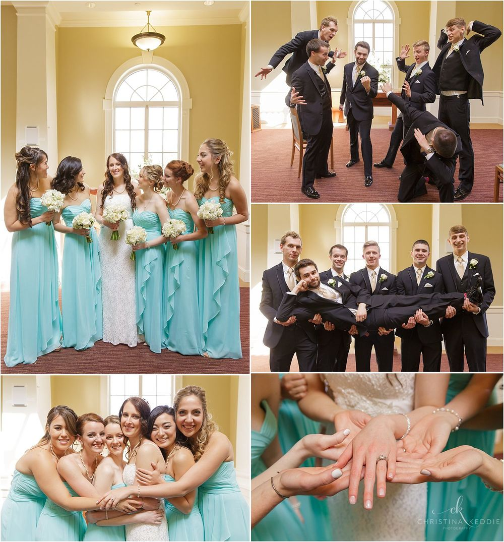 Bridal party group portraits inside church | Christina Keddie Photography | Ewing NJ wedding photographer