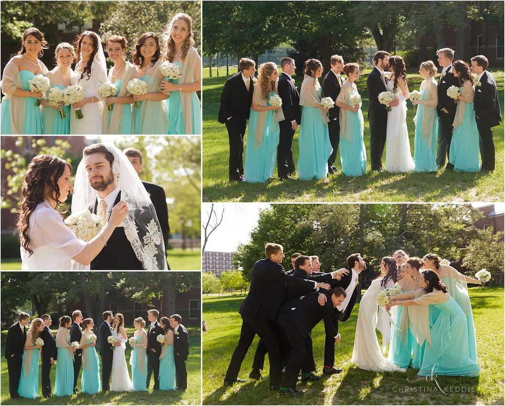 Bridal party group portraits on TCNJ campus grounds | Christina Keddie Photography | Ewing NJ wedding photographer
