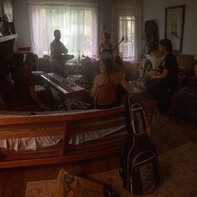 4 Claudettes and 3 Claudes (Ambird is invisible) rehearsing for our show at the Grey Eagle on Thursday with Liz Vice!
