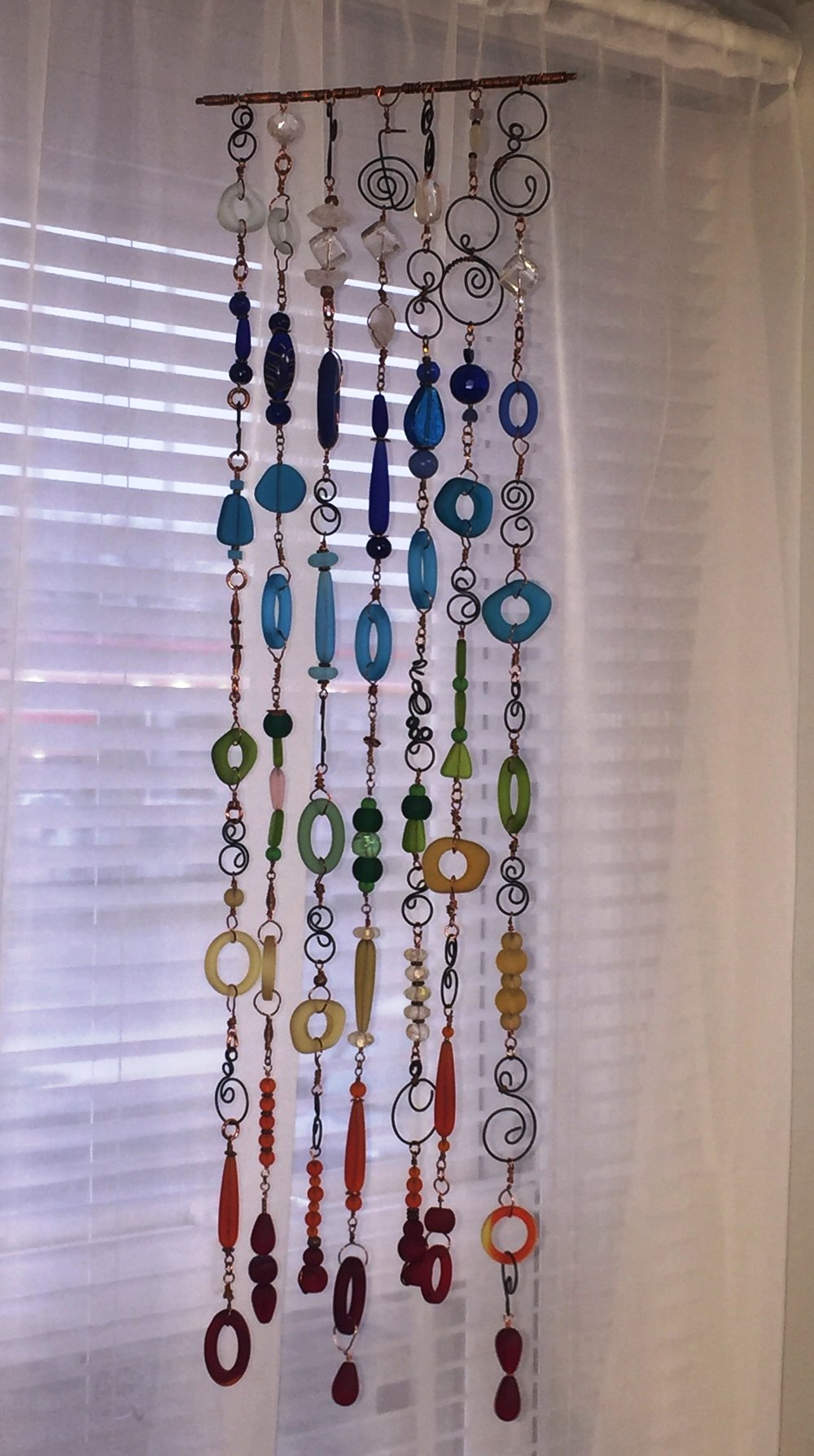 Recycled Glass Chakra Mobile (Sun Catcher) by Kim Marlotte
