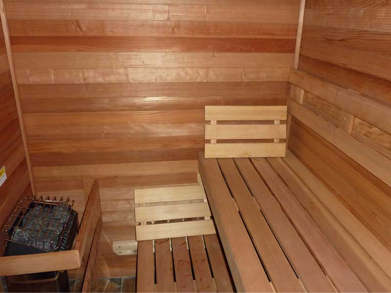 Cedar interior of the sauna.