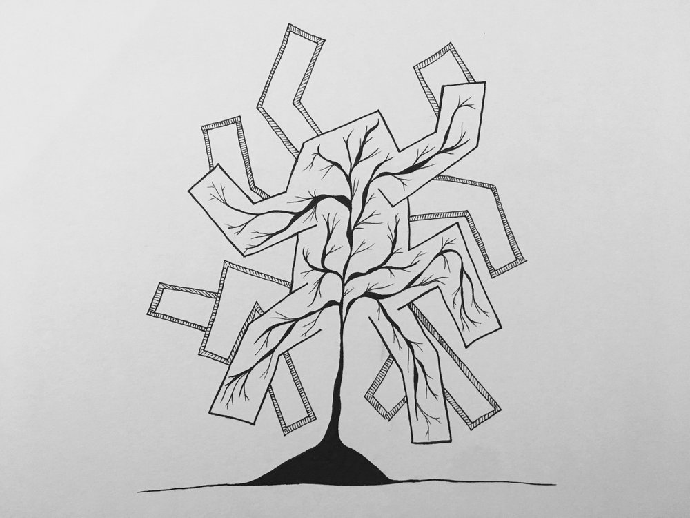 Resilience, 2018, ink on paper, 18cm x 14cm