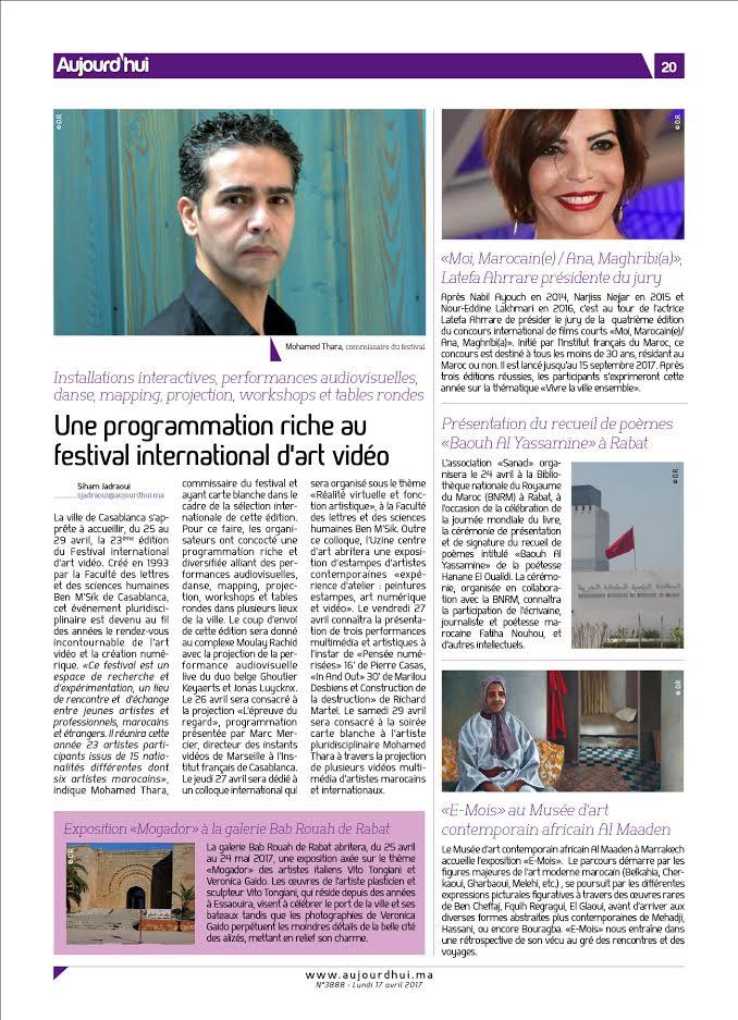 Mohamed Thara FIAV Casablanca, le journal Aujourd'hui le Maroc du lundi 17 avril.jpg