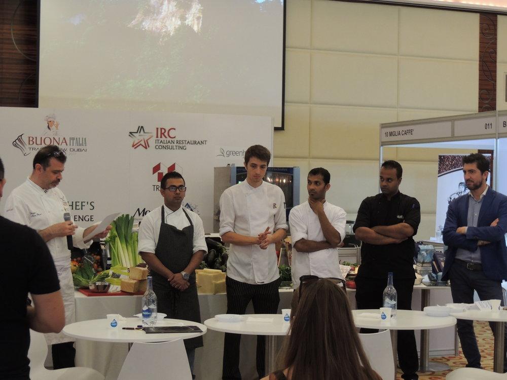 In foto gli chef under 30 di Dubai che hanno preso parte alla prima giornata di Young Chef's Italian Challange, BuonaItalia Trade Show 2017.