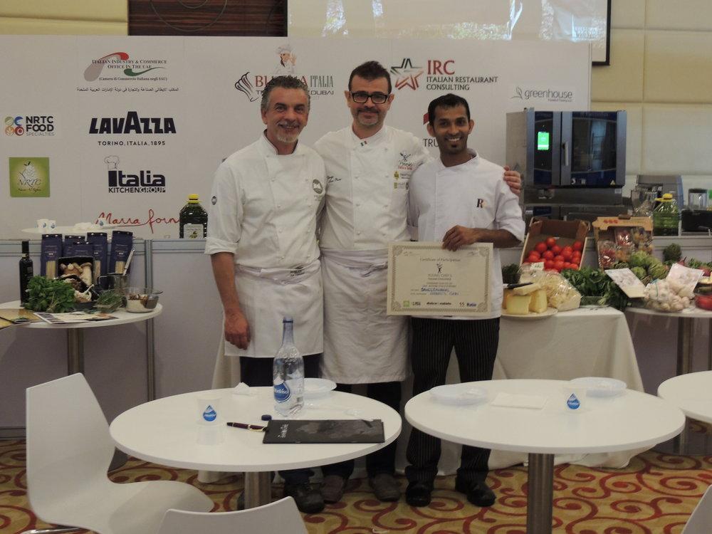 In foto: Chef Mario Sobbia (ICIF), Chef Aira (IRC) e uno dei giovani chef partecipante a Young Chef's Italian Challange (BuonaItalia Trade Show).