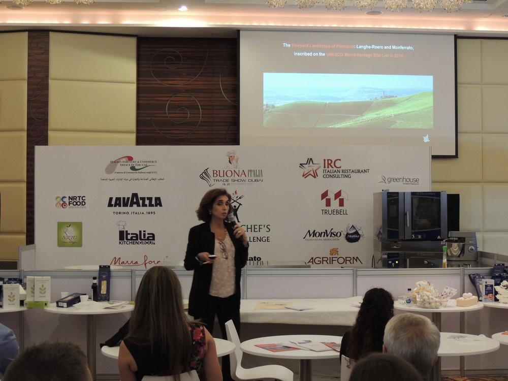 "La dott.ssa Marcella Gaspardone, Turismo Torino, ""Piedmont Region in Dubai"" (BuonaItalia Trade Show 2017)."