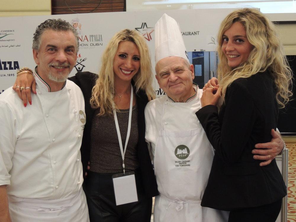 In foto: Chef Mario Sobbia (ICIF), Camilla Francesca Martra (IICUAE), Chef Fausto Meli (ICIF) e Benedetta Bottoli (IICUAE).