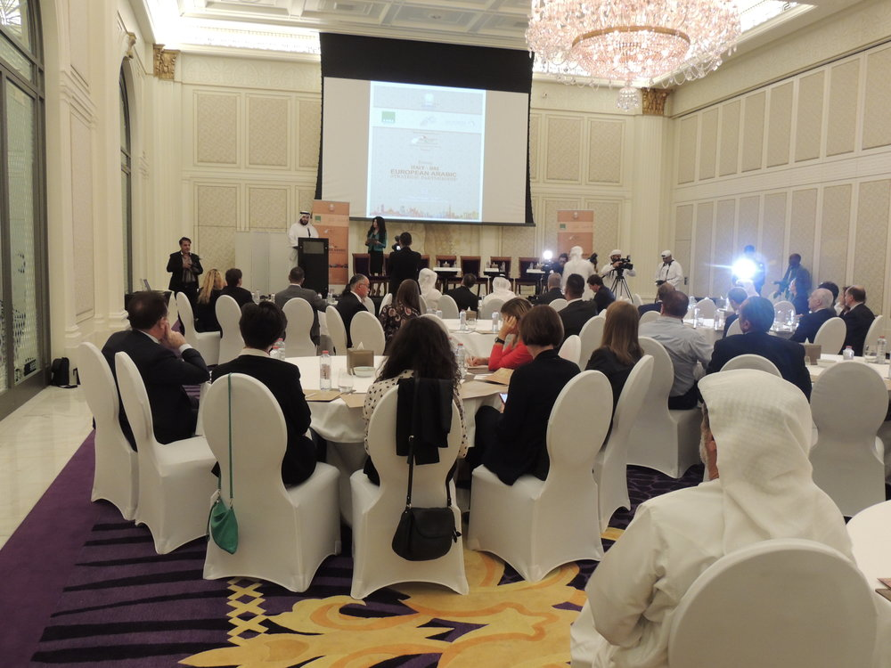 "Conferenza ""Italy -UAE: European Arabic Strategic Partnership"", prezzo la ballroom di Palazzo Versace (Dubai)."