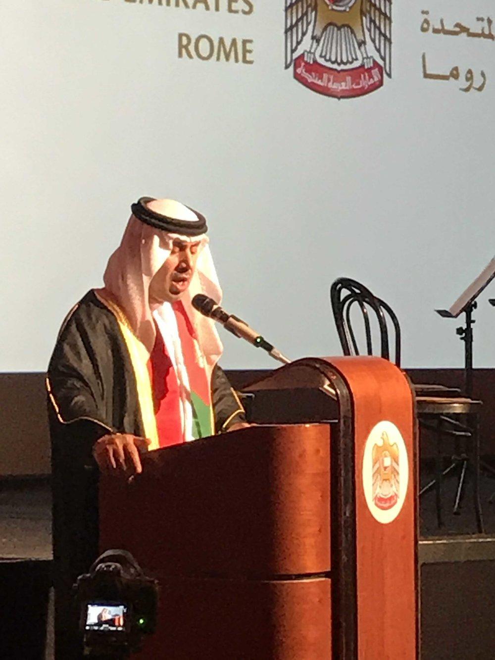 S.E. Sig. Saqr Nasser Ahmed Abdullah AL RAISI, Ambasciatore degli Emirati Arabi Uniti in Italia, durante i festeggiamenti per il 46esimo anniversario della festa nazionale degli EAU.