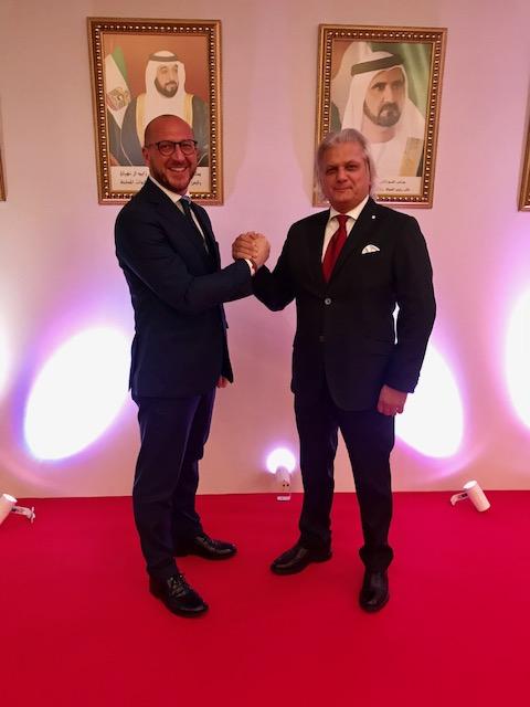 Il Representative della IICUAE, Avv. Simone Facchinetti insieme al Consigliere della IICUAE, Silvano Martinotti presenti al 46esimo anniversario della festa nazionale degli EAU, Roma.