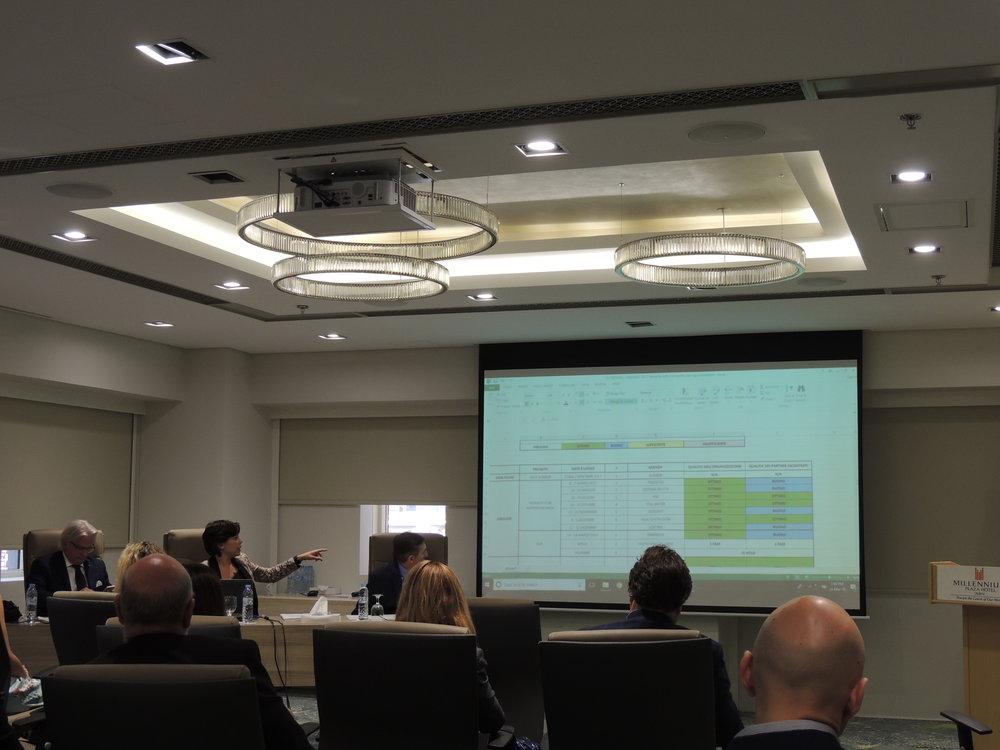 Aya Maria Moussalli, Business Development Manager della IICUAE, illustra ai presenti i risultati delle missioni B2B da lei svolte nel 2017.