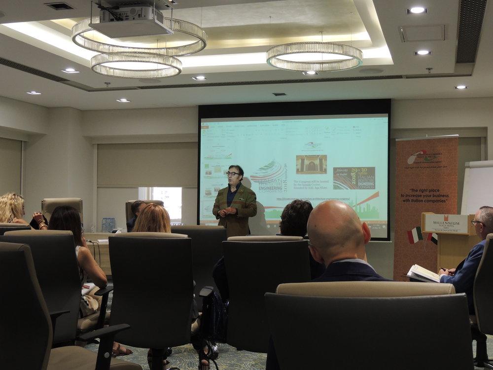 Il dott. Ninni Meli, Presidente di Dante Alighieri Dubai, durante la presentazione dell'accordo Dante-IICUAE-Regione Lombardia.