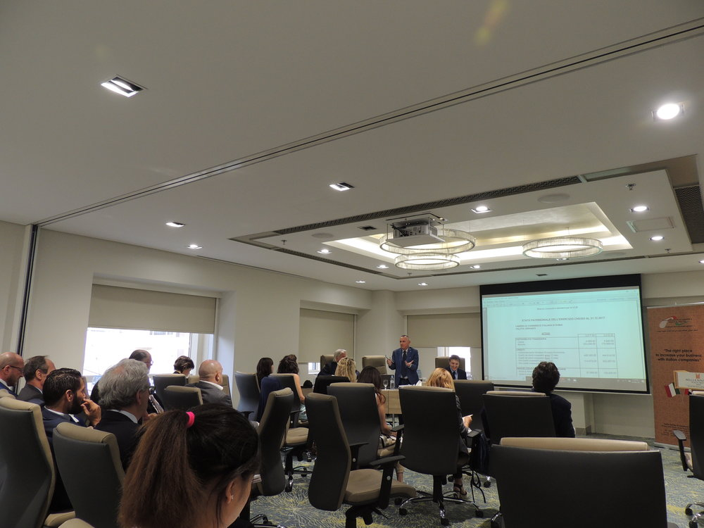 Il Segretario Generale della IICUAE, Mauro Marzocchi, illustra ai presenti il bilancio 2017 ed il bilancio preventivo 2018.