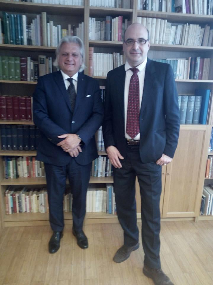 Il Vice Presidente della IICUAE, Silvano Martinotti, insieme a Matteo Lazzarini, Segretario Generale della Camera di Commercio Italiana in Belgio.