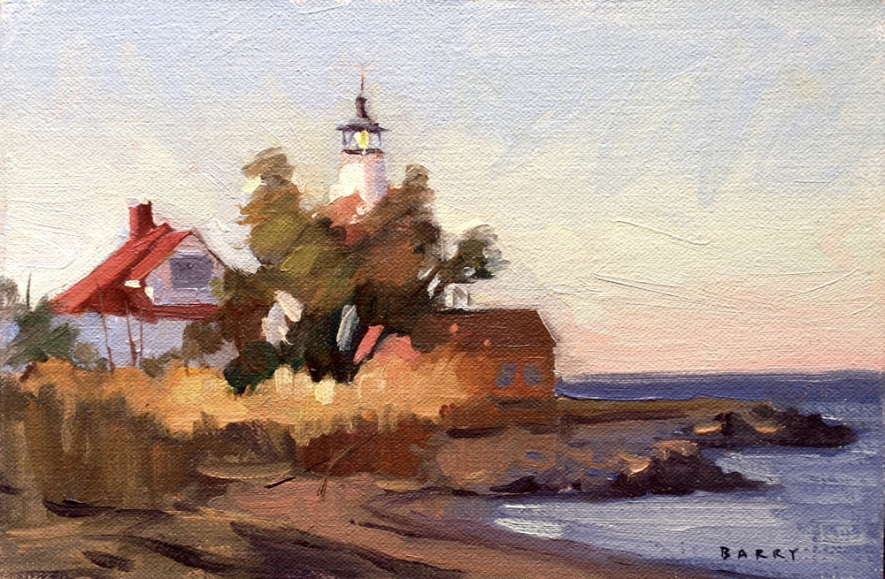 Oil, 6x9.  Cove Point Lighthouse, Lusby, MD    Sold.