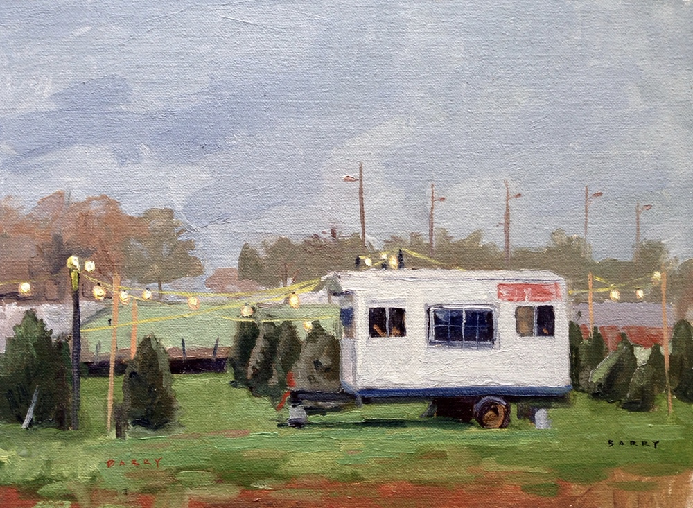 Oil, 9x12.  Christmas tree lot in Solomon's Island, MD     300.