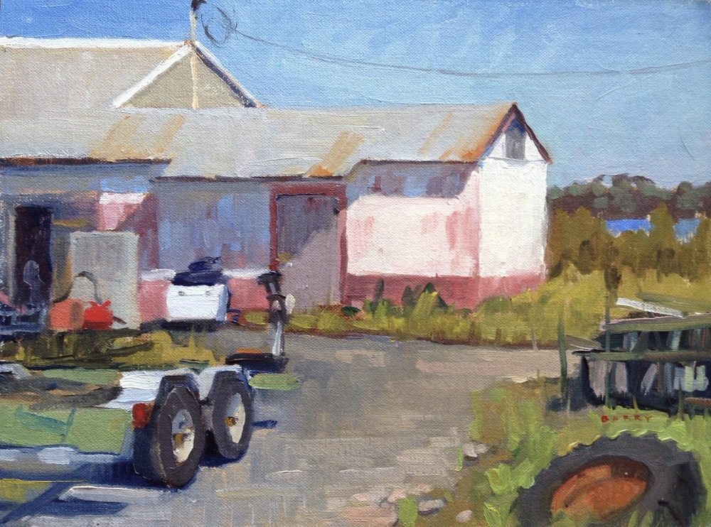 Oil, 9x12.  Fish House next to Courtney's Restaurant in Ridge, MD.  300.