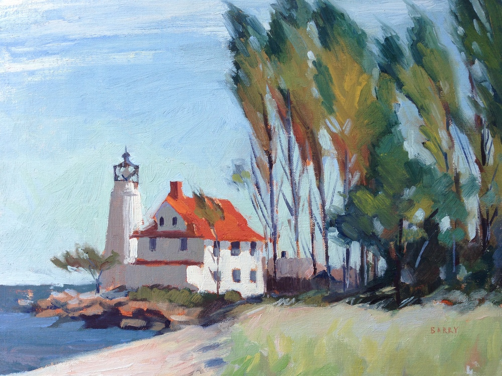 Oil, 11x14.  Cove Point Lighthouse, Lusby, MD  Sold