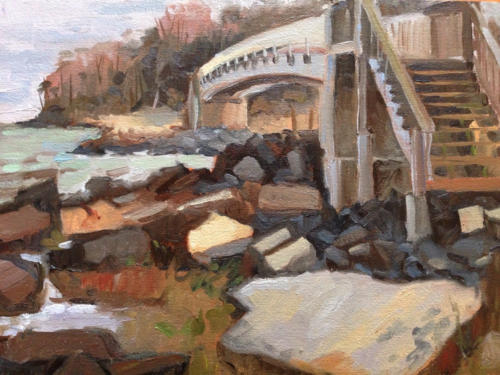 Oil, 9x12.  Foot Bridge at Hog Point on PAX Naval Base.  Lexington Park, MD.  300.