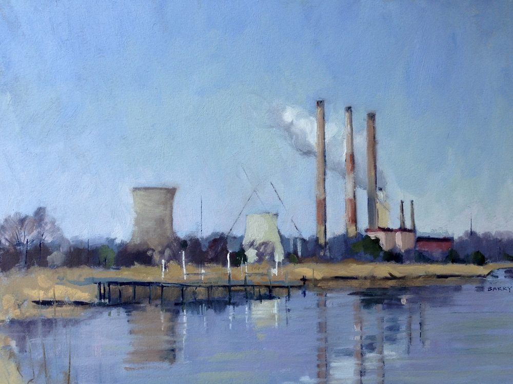Oil, 11x14.  Chalk Point Power Plant, Charles County, MD.  Sold.