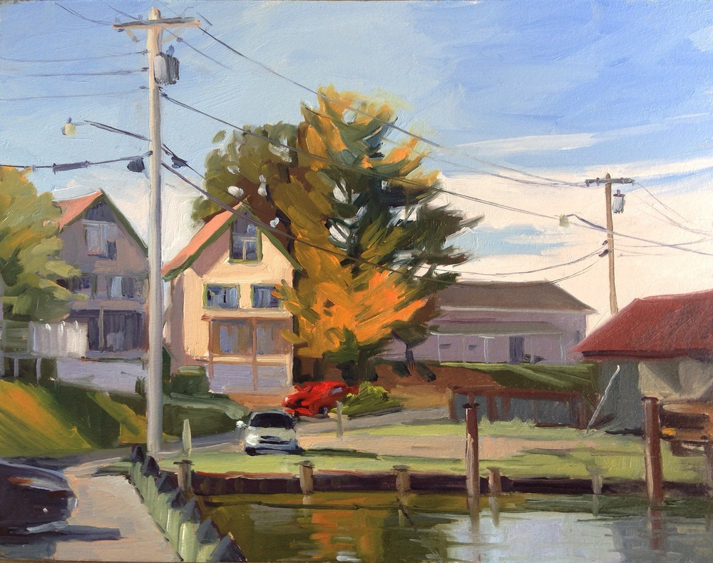 Oil, 11x14.  Across from the Tiki Bar, Solomon's Island, MD.     350.