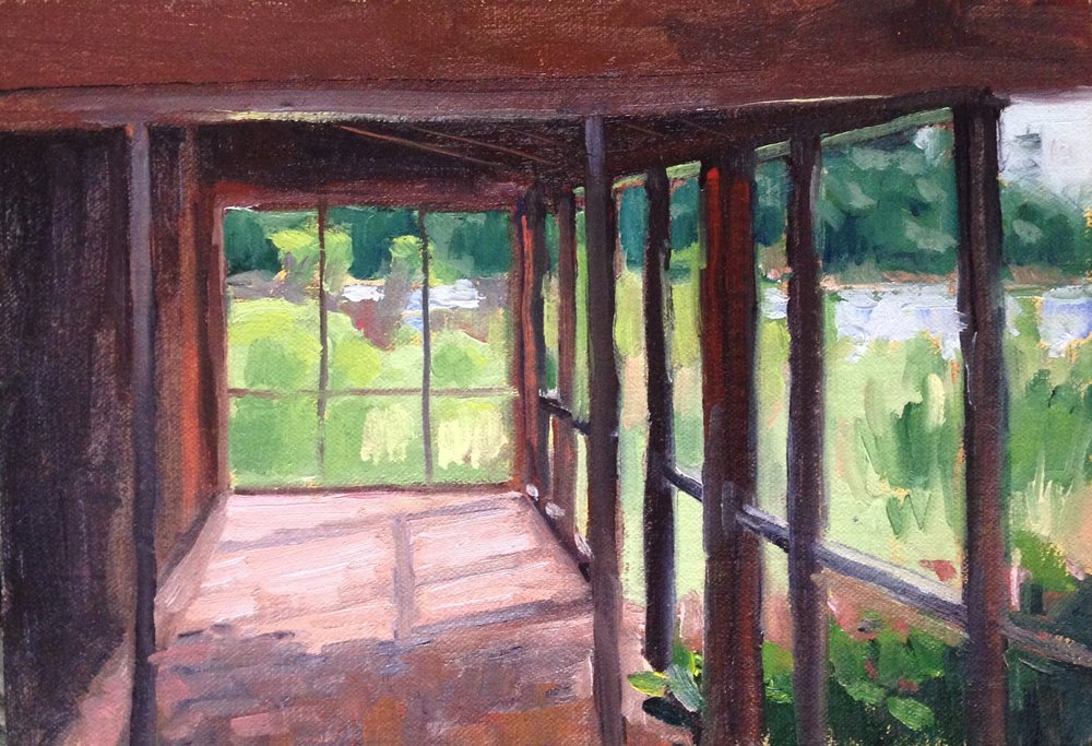A View From a Porch   7x10 in.     Oil on linen panel     250.