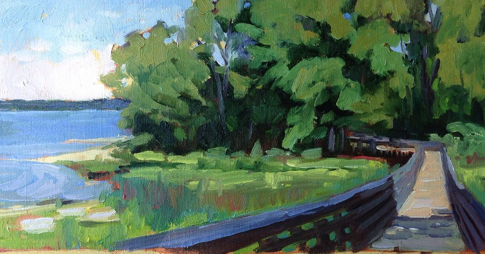 Around the Bend     7x14 in.  Oil on linen panel     300.