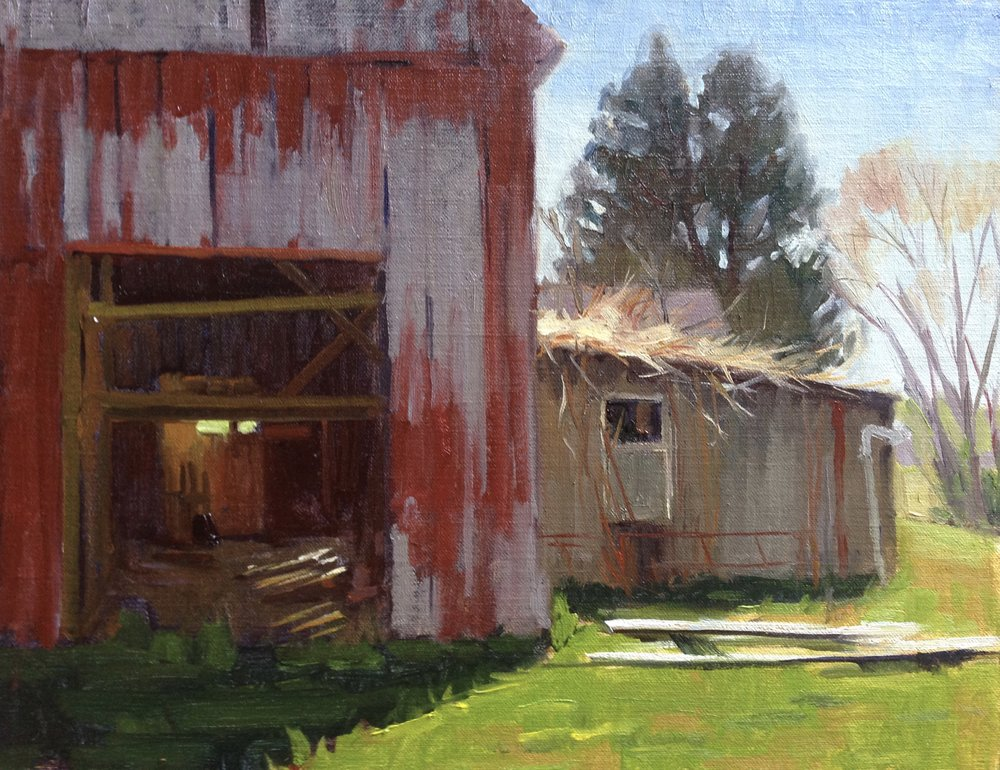 Jug Bay Barns    11x14 in.  Oil on linen panel     NA