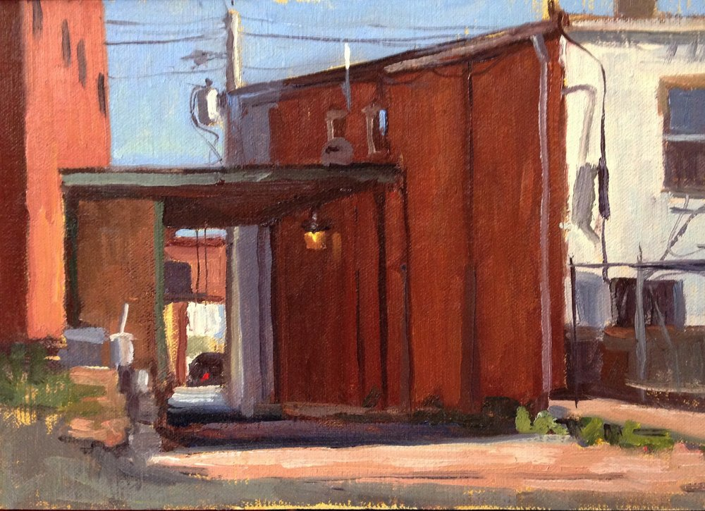 A Light in the Alley     7x10 in.  Oil on linen panel     250.