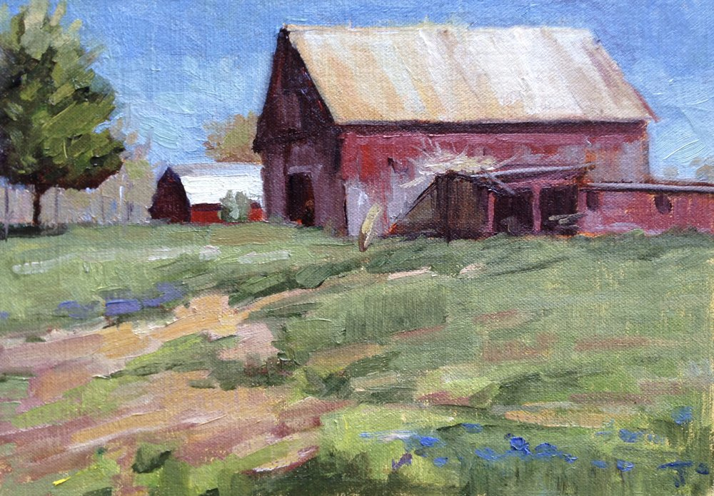 Barns at Wayson's Crossing     7x10 in.  Oil on linen panel     275.