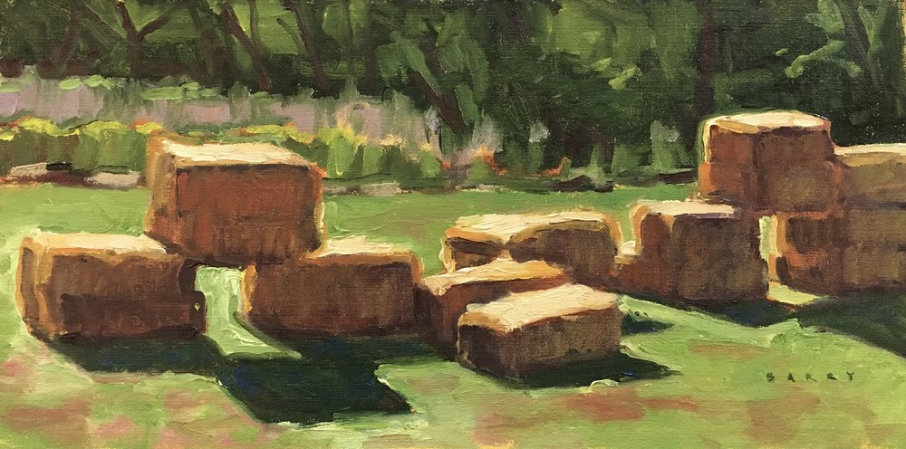 St. Mary's  Hay Bales   7x14 in.  Oil on linen panel     275.