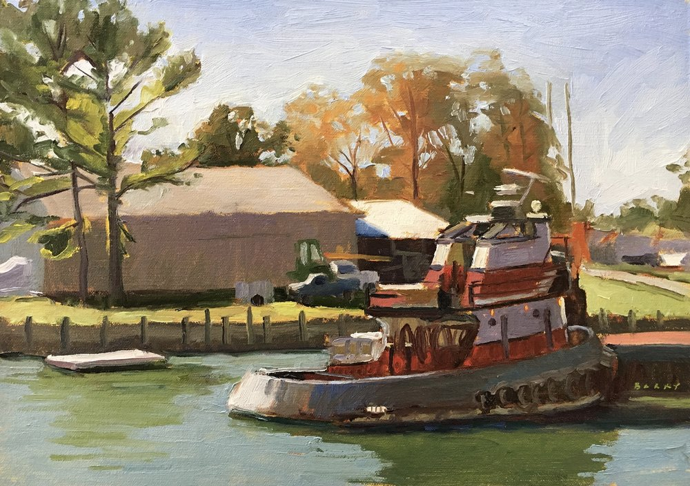 Back Creek Tugboat     10x14 in.  Oil on linen panel     350.