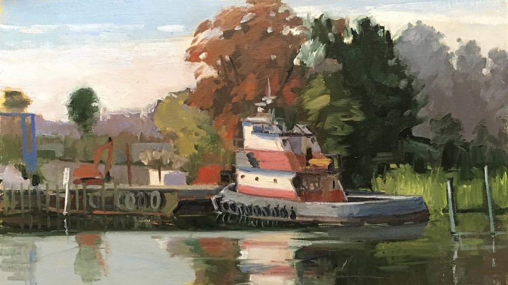 Captain Smith, On the Sunny Side     12x20 in.  Oil on linen panel     450.