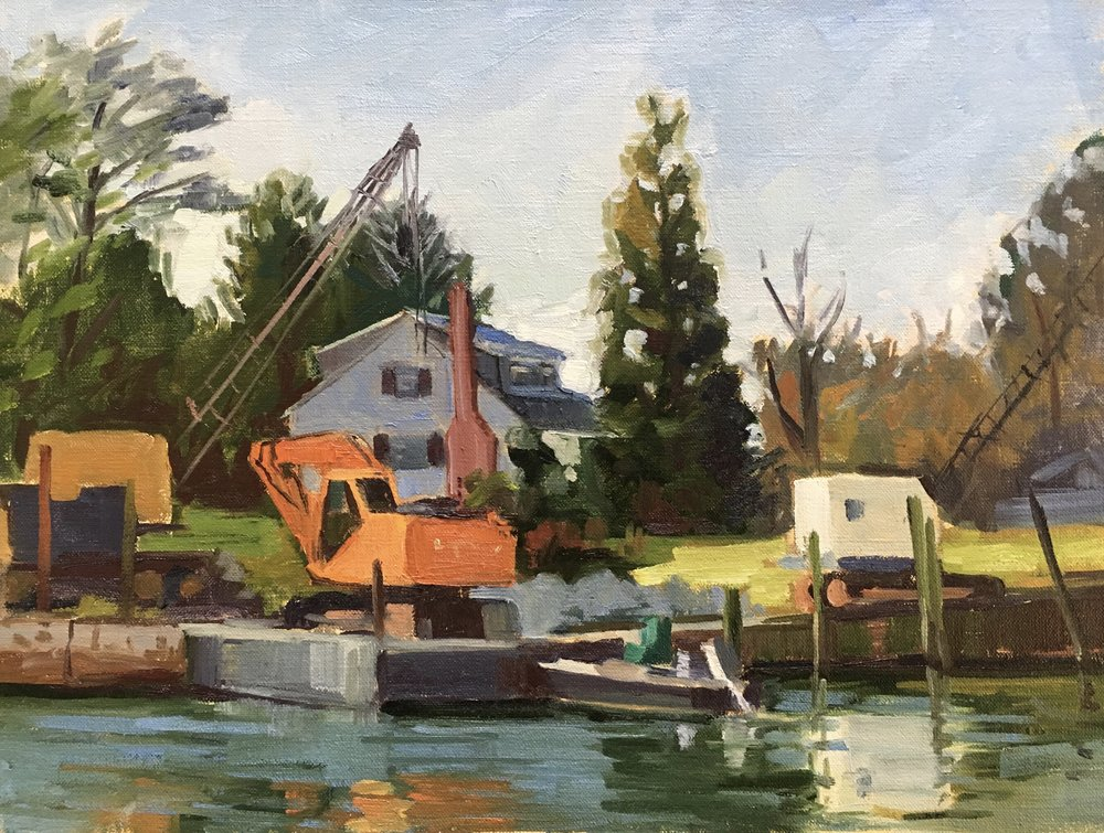 Loader and Cranes     12x16 in. oil on linen panel     $400