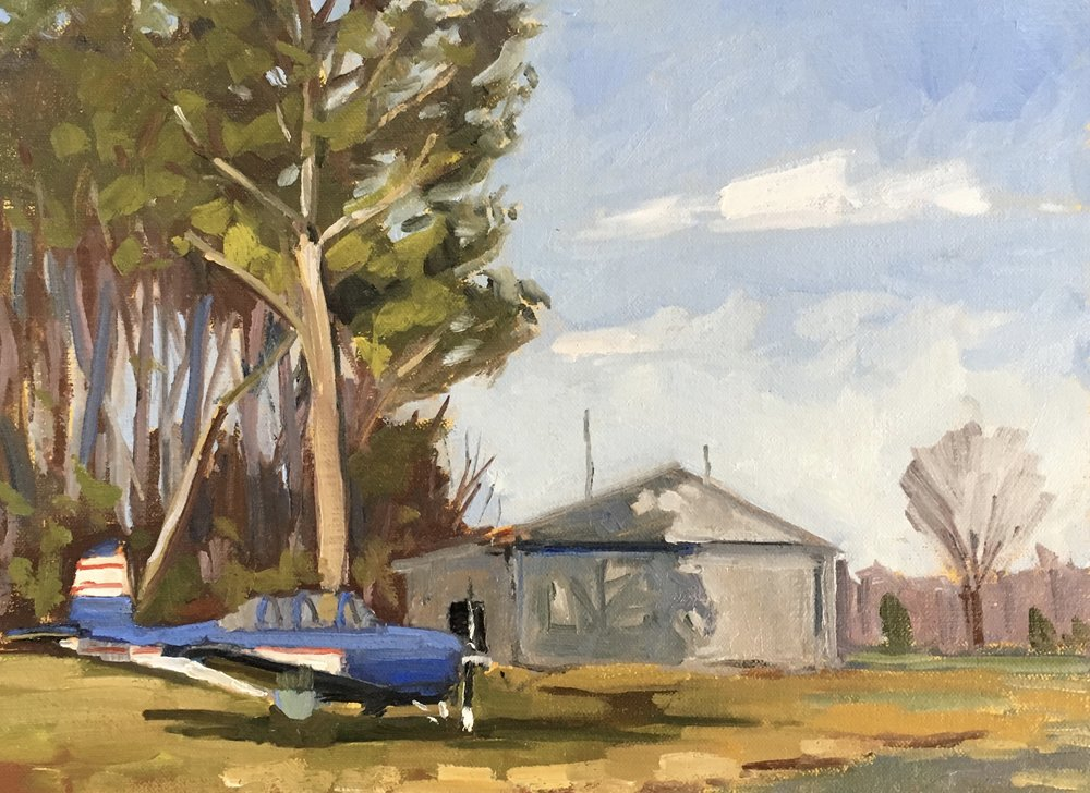 Little Blue Plane   9x12 in. oil on linen panel   $300